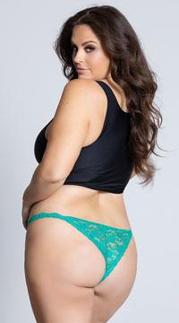 Yandy Plus Size Low Rise Lace Bikini - Green