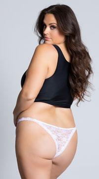 Yandy Plus Size Low Rise Lace Bikini - White