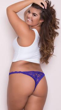 Yandy Plus Size Low Rise Lace Bikini - Purple