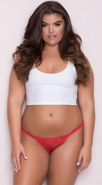 Yandy Plus Size Low Rise Lace Bikini - Red
