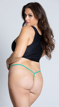 Yandy Plus Size Lace Thong with Keyhole Opening - Green
