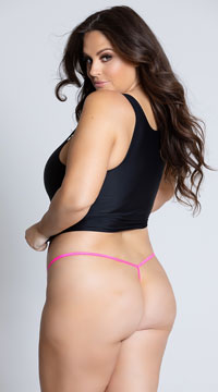 Yandy Plus Size Lace Thong with Keyhole Opening - Hot Pink