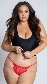 Yandy Plus Size Lace Thong with Keyhole Opening - Red