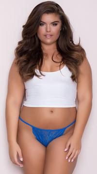 Yandy Plus Size Lace Thong with Keyhole Opening - Blue
