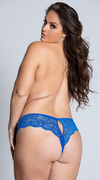 Yandy Plus Size Lace Cheeky Panty with Keyhole Openings - as shown