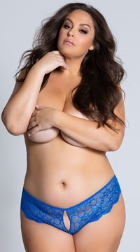 Yandy Plus Size Lace Cheeky Panty with Keyhole Openings - Blue