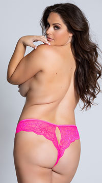 Yandy Plus Size Lace Cheeky Panty with Keyhole Openings - Hot Pink