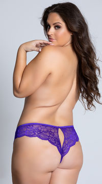 Yandy Plus Size Lace Cheeky Panty with Keyhole Openings - Purple