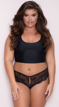 Yandy Plus Size Lace Cheeky Panty with Keyhole Openings - Black