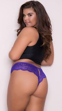 Yandy Plus Size Lace Cheeky Panty with Keyhole Openings - Purple