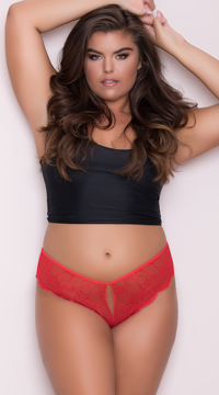 Yandy Plus Size Lace Cheeky Panty with Keyhole Openings - Red