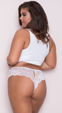 Yandy Plus Size Lace Cheeky Panty with Keyhole Openings - White