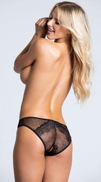 Yandy Crotchless Dotted Mesh Panty - Black