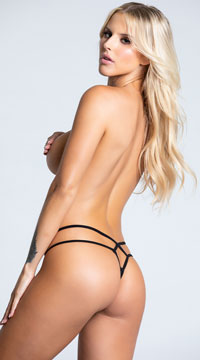 Yandy Double Trouble Thong - Black