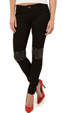 Stretch Black Jeans with Faux Leather Patches - Black