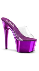 7 Inch Slide On Stiletto Shoe - Clear/Purple Chrome