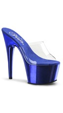 7 Inch Slide On Stiletto Shoe - Clear/Royal Blue Chrome