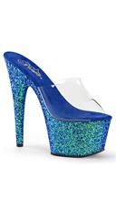 Glitter Bottom Platform Slides - Clear/Blue Holo Glitter
