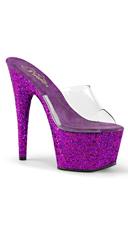 Glitter Bottom Platform Slides - Clear/Purple Holo Glitter