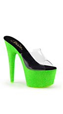 Neon UV Reactive Platform Slides - Clear/Neon Green Glitter