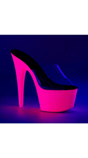 Neon UV Reactive Platform Slides - Clear/Neon Hot Pink Glitter
