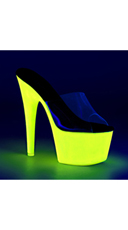 Neon UV Reactive Platform Slides - Clear/Neon Yellow Glitter