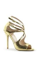 Sultry Vixen Strappy Stilettos - Gold Met Pu