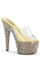 Glitzy Glamour Clear Platform Slide - Clear/Gold Multi RS