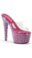 Glitzy Glamour Clear Platform Slide - Clear/Hot Pink Multi RS