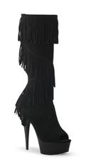 Peep Toe Knee High Fringe Boot - Black Suede/Black Matte