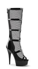 Caged Mesh Knee High Boot - Black Pat-Mesh/Black