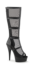 Caged Mesh Knee High Boot - Black Faux Leather-Mesh/Black Matte