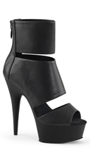 Split Peep Toe Booties - Black Faux Leather/Black Matte