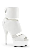 Split Peep Toe Booties - White Faux Leather/White