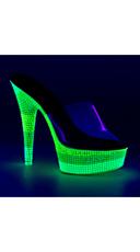 Triple Toned Neon Slide - Clear/Neon Multi Green