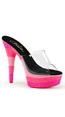 Triple Toned Neon Slide - Clear/Neon Multi Hot Pink