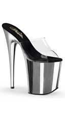 8 Inch Heel Platform Slide - Clear/Silver Chrome