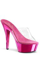 Spike Heel Sandal - Clear/Hot Pink Chrome