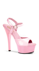 6 Inch Spike Heel Platform Sandal - Baby Pink Pat/Baby Pink