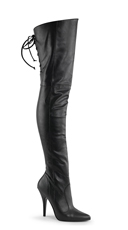 5 Inch Lace Up Thigh High Leather Boot - Black Faux Leather