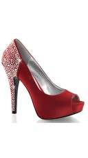 Rhinestone Edge Satin Peep Toe Pump - Rouge Silk Satin