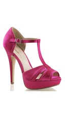 Double Duty Satin T-Strap Sandal - Fuchsia Satin