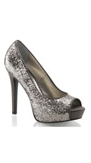 Glitter Peep Toe Pumps - Charcoal Glitter