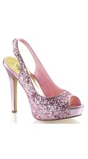 Sequin Sling Back Pumps - Baby Pink Glitter