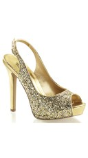 Sequin Sling Back Pumps - Gold Glitter