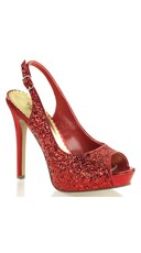 Sequin Sling Back Pumps - Red Glitter