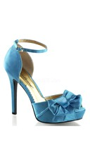 Satin Peep Toe Sandals with Ankle Strap and Bow - as shown