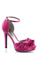 Satin Peep Toe Sandals with Ankle Strap and Bow - Hot Pink Satin