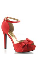 Satin Peep Toe Sandals with Ankle Strap and Bow - Red Satin