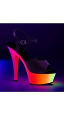 Black Light Reactive Strappy Platform Sandal - Black Pat/Neon Multi